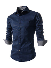 Turn Down Collar  Single Breasted Office Style Plaid Men Shirt