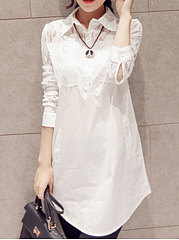 Turn Down Collar  Decorative Lace  Long Sleeve Blouses