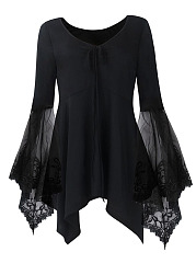 V-Neck See-Through Plain Plus Size Bell Sleeve T-Shirt