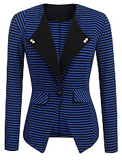 Collarless  Flap Pocket  Decorative Button  Striped  Long Sleeve Blazers