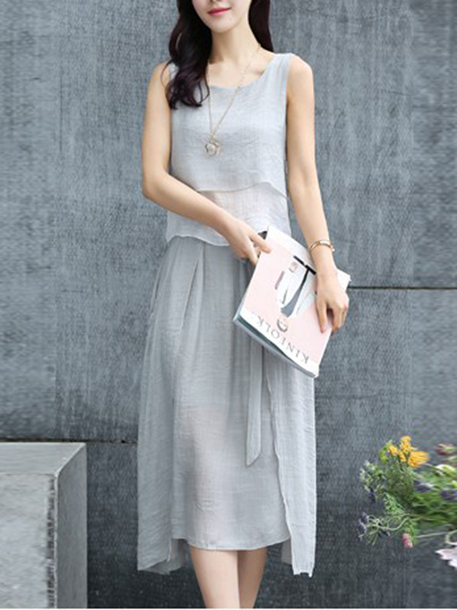 Round Neck Color Block Top And Pocket Flared Skirt