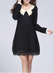 Round Neck  Bowknot Patchwork  Plain  Polyester Shift Dress
