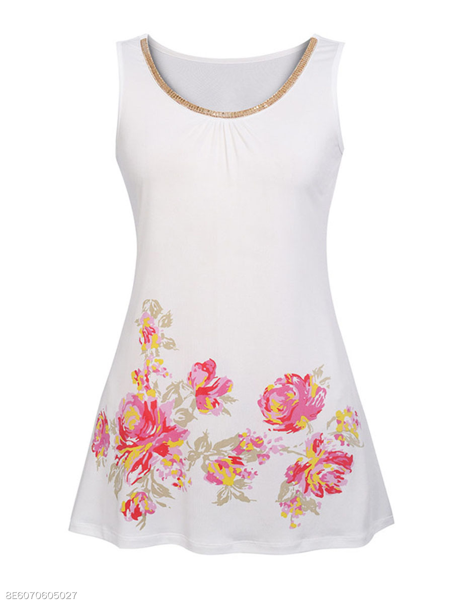 Beading Floral Printed Round Neck Sleeveless Plus Size T-Shirt