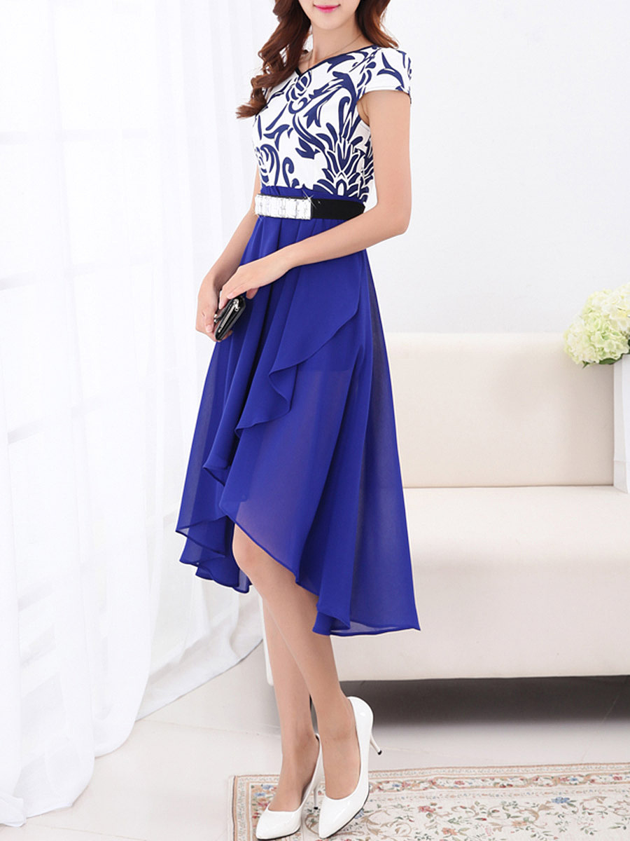 V-Neck Hollow Out High-Low Printed Skater Dress