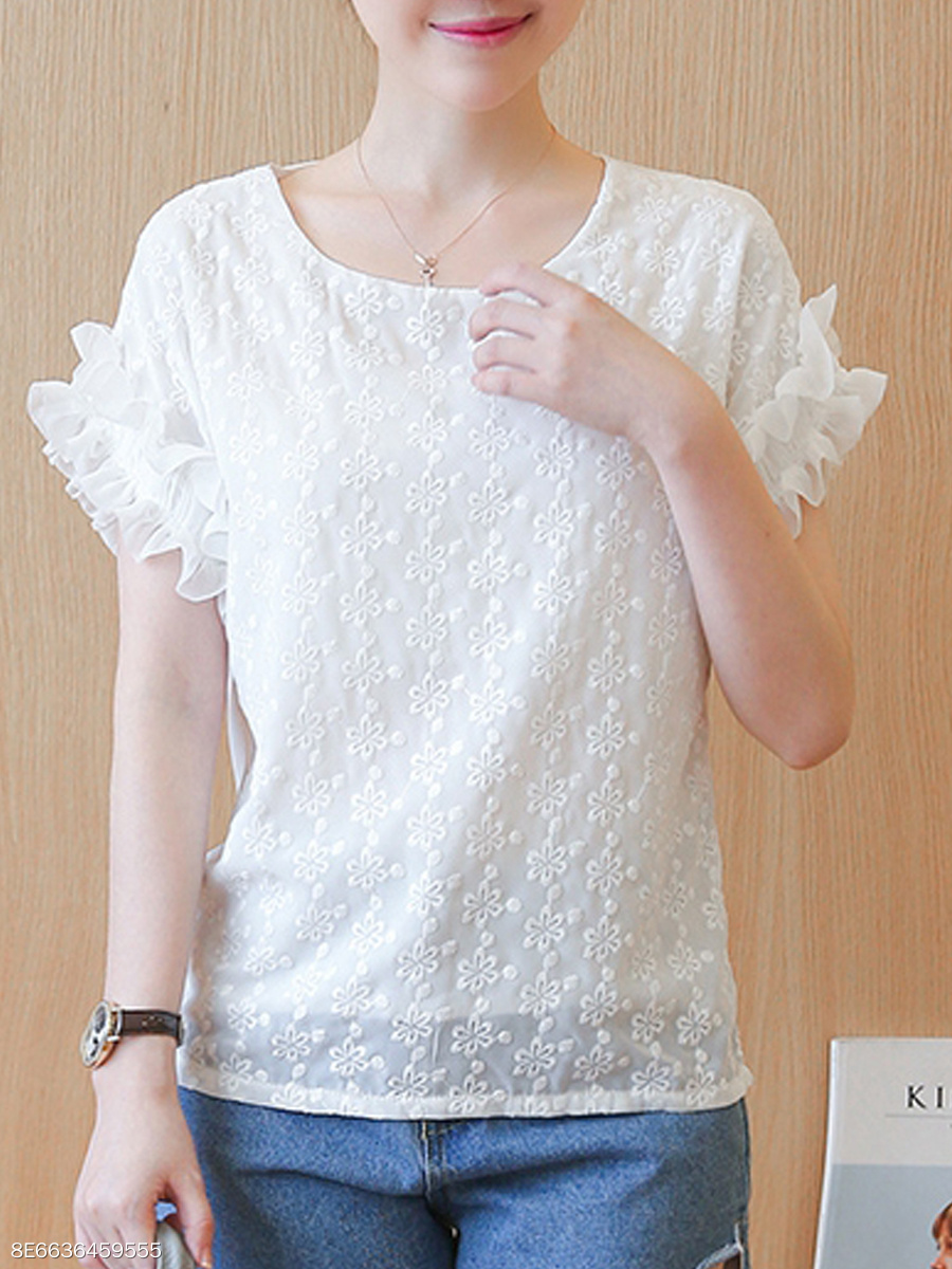 Summer  Cotton  Women  Round Neck  Flounce  Plain  Short Sleeve Blouses