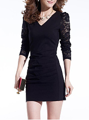 V-Neck Hollow Out Plain Mini Bodycon Dress