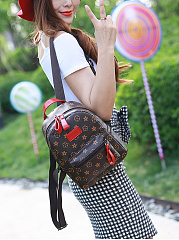 Leisure And Retro Floral Print Drawstring Pu Backpack