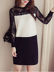 Round Neck  Decorative Lace  Color Block Shift Dress