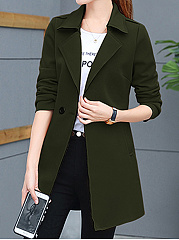 Lapel Pocket  Plain Trench Coat