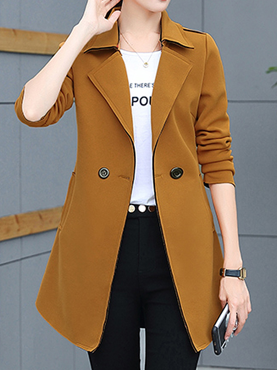 Trench Polyester Slit Pocket Plain