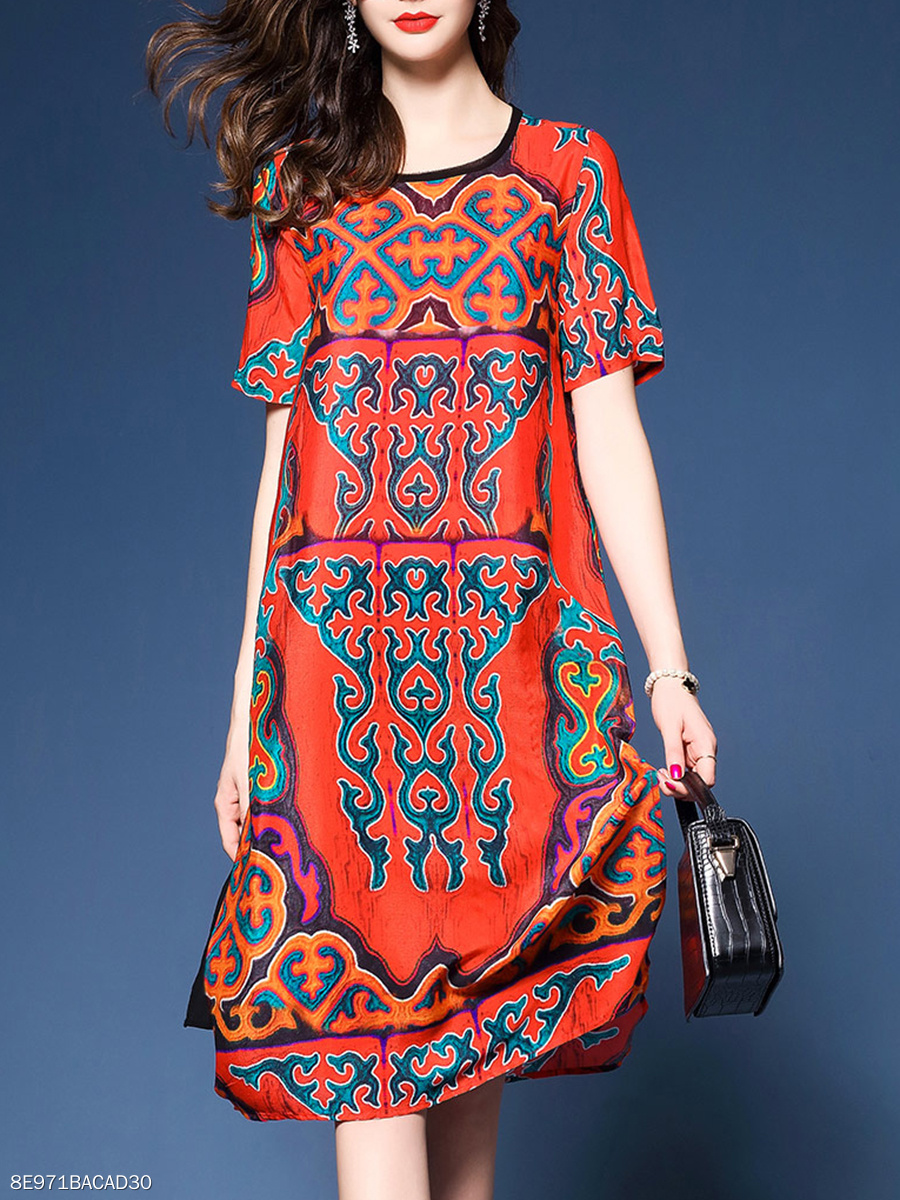 Round Neck  Contrast Trim  Printed  Polyester Maxi Dress