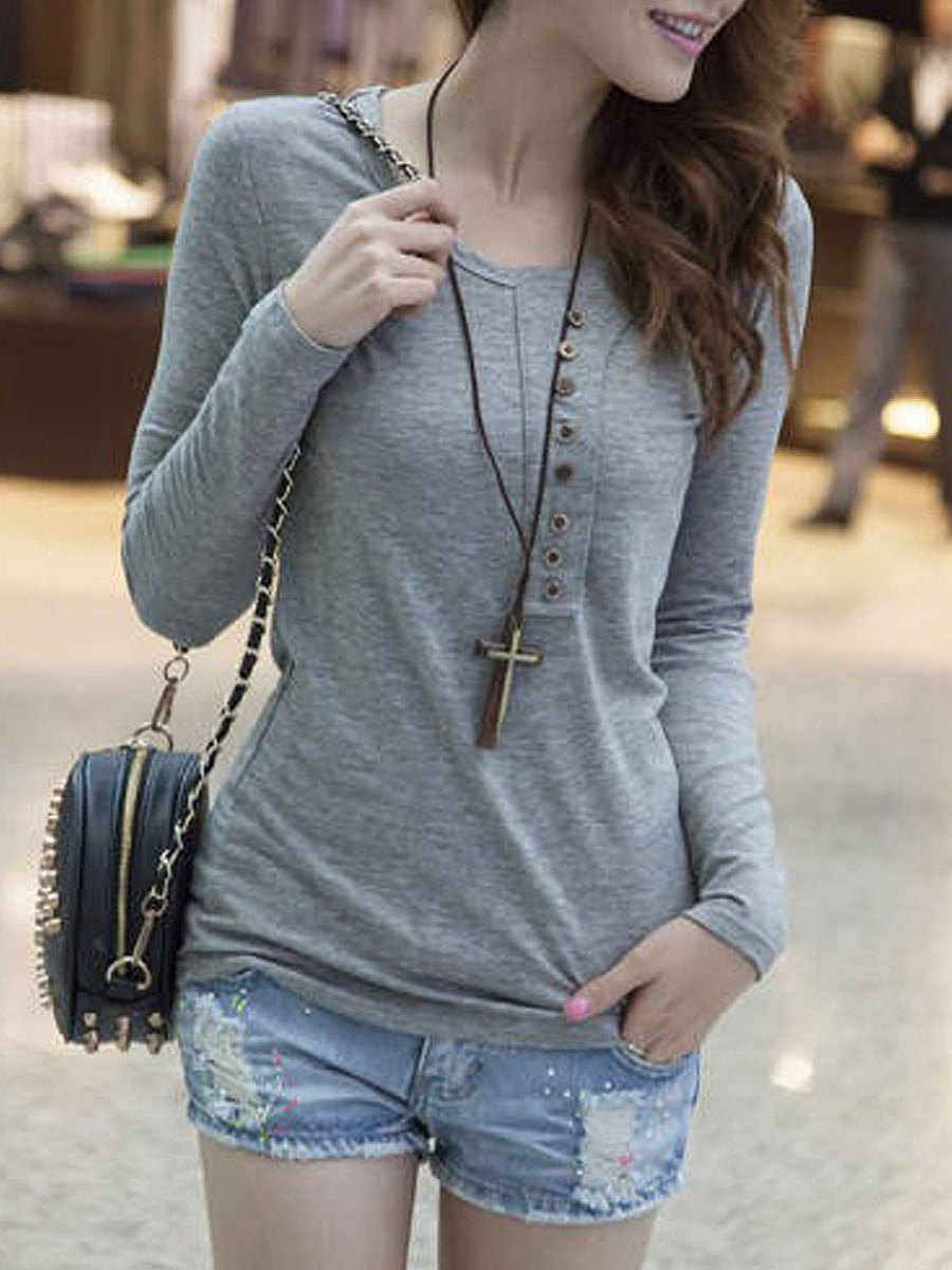 Autumn Spring  Polyester  Women  Round Neck  Decorative Button  Plain Long Sleeve T-Shirts