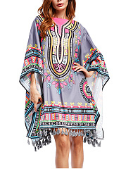 Colorful-Boat-Neck-Tassel-Printed-Oversized-Tunic