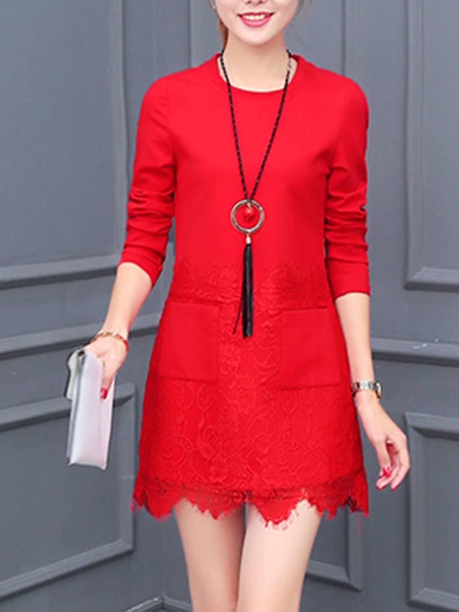 Round Neck  Decorative Lace Patch Pocket  Plain  Polyester Shift Dress