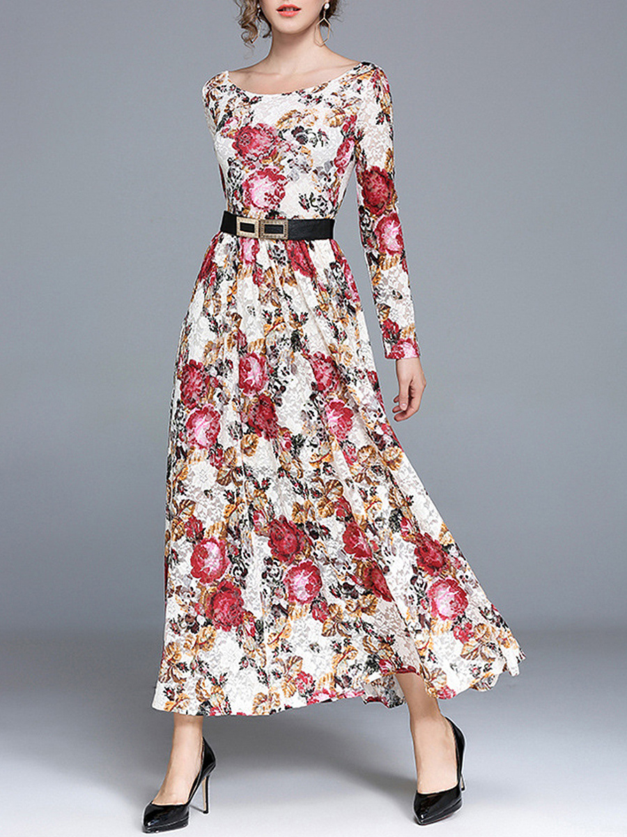 Round Neck Belt Floral Printed Lace Maxi Dress