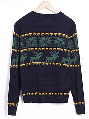 Crew Neck Reindeer Snowflake Men'S Sweater