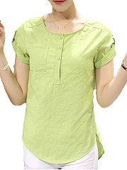 Summer  Linen  Women  Round Neck  Asymmetric Hem  Decorative Button  Plain  Short Sleeve Blouses