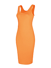 Basic Scoop Neck Solid Bodycon Dress