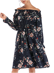 Open Shoulder  Elastic Waist  Floral Skater Dress