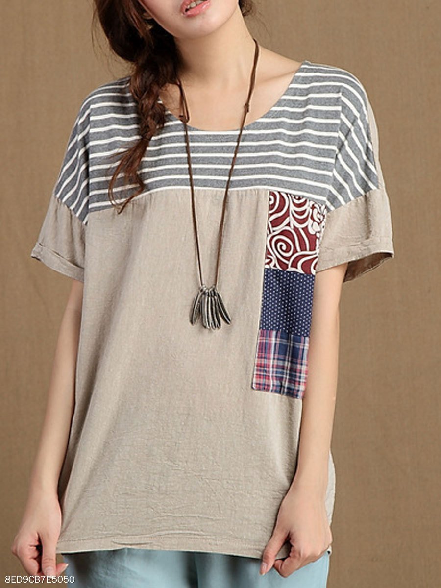 Summer  Cotton  Women  Round Neck  Patch Pocket  Striped  Short Sleeve Blouses