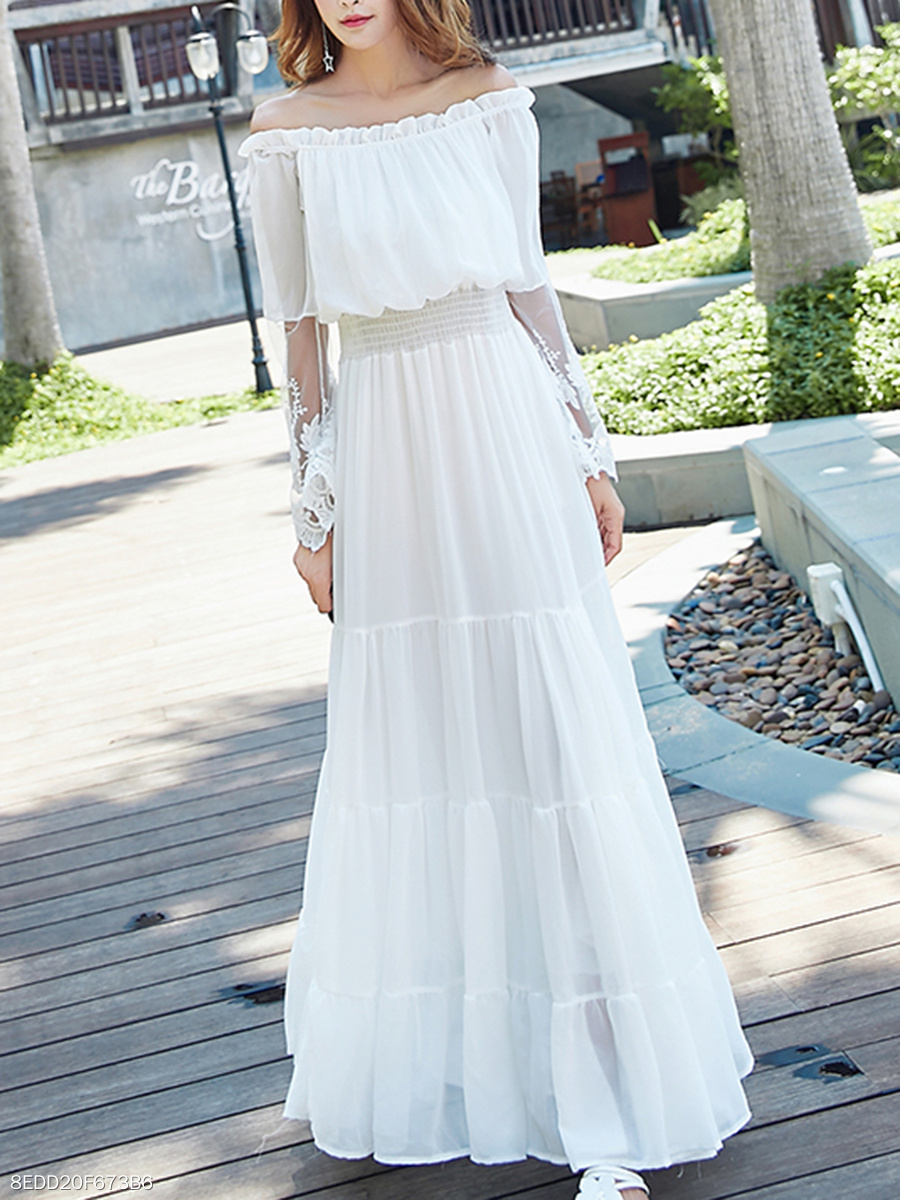 Off Shoulder  Decorative Lace Elastic Waist  Plain Maxi Dress