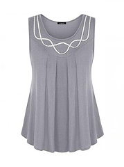 Round Neck  Scalloped Hem  Plain  Sleeveless Plus Size T-Shirts