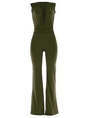 Hot-Deep-V-Neck-Plain-Wide-Leg-Jumpsuit