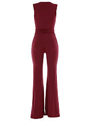 Hot Deep V-Neck Plain Wide-Leg Jumpsuit