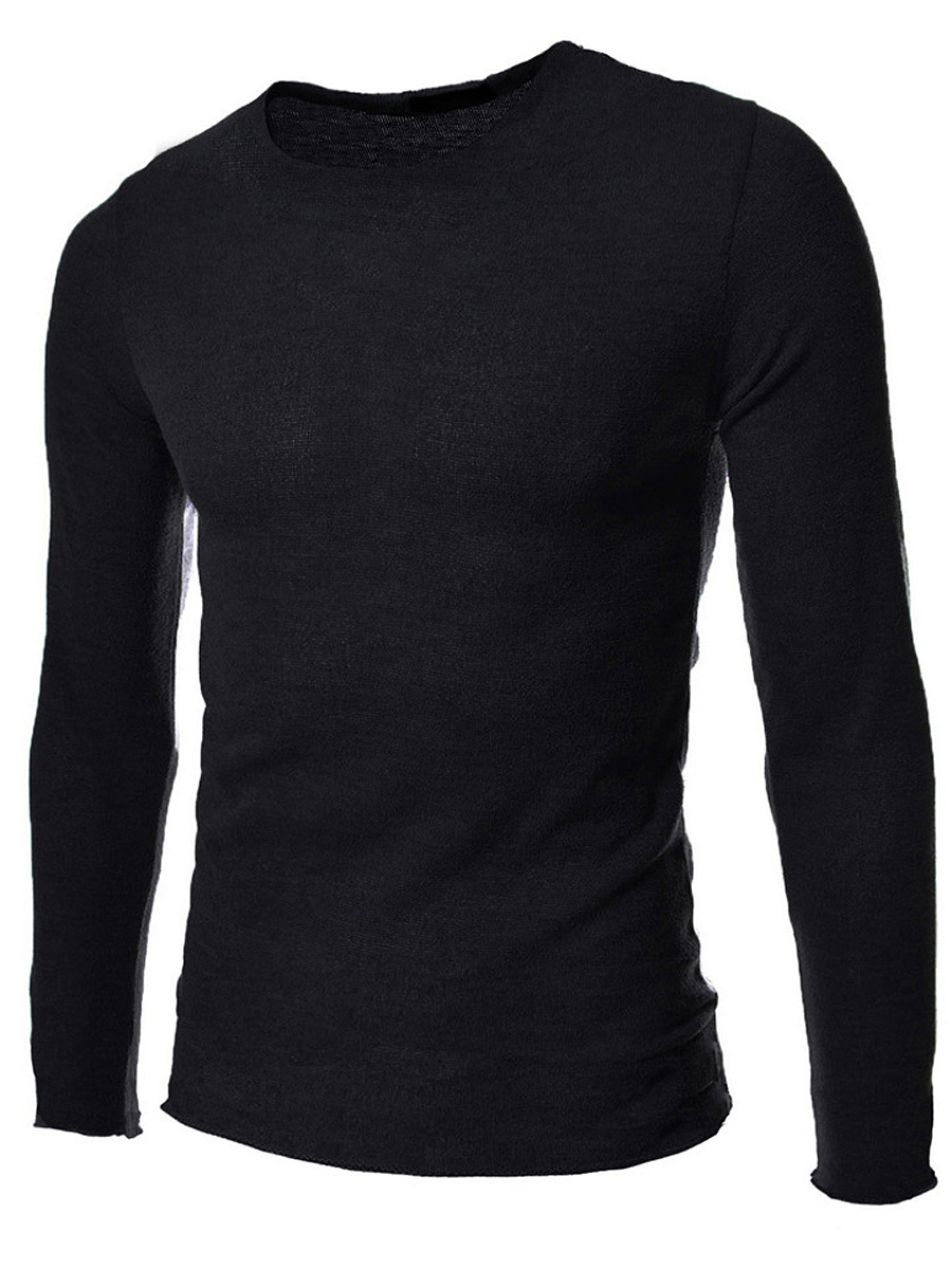 Basic Round Neck Plain Men'S Sweater