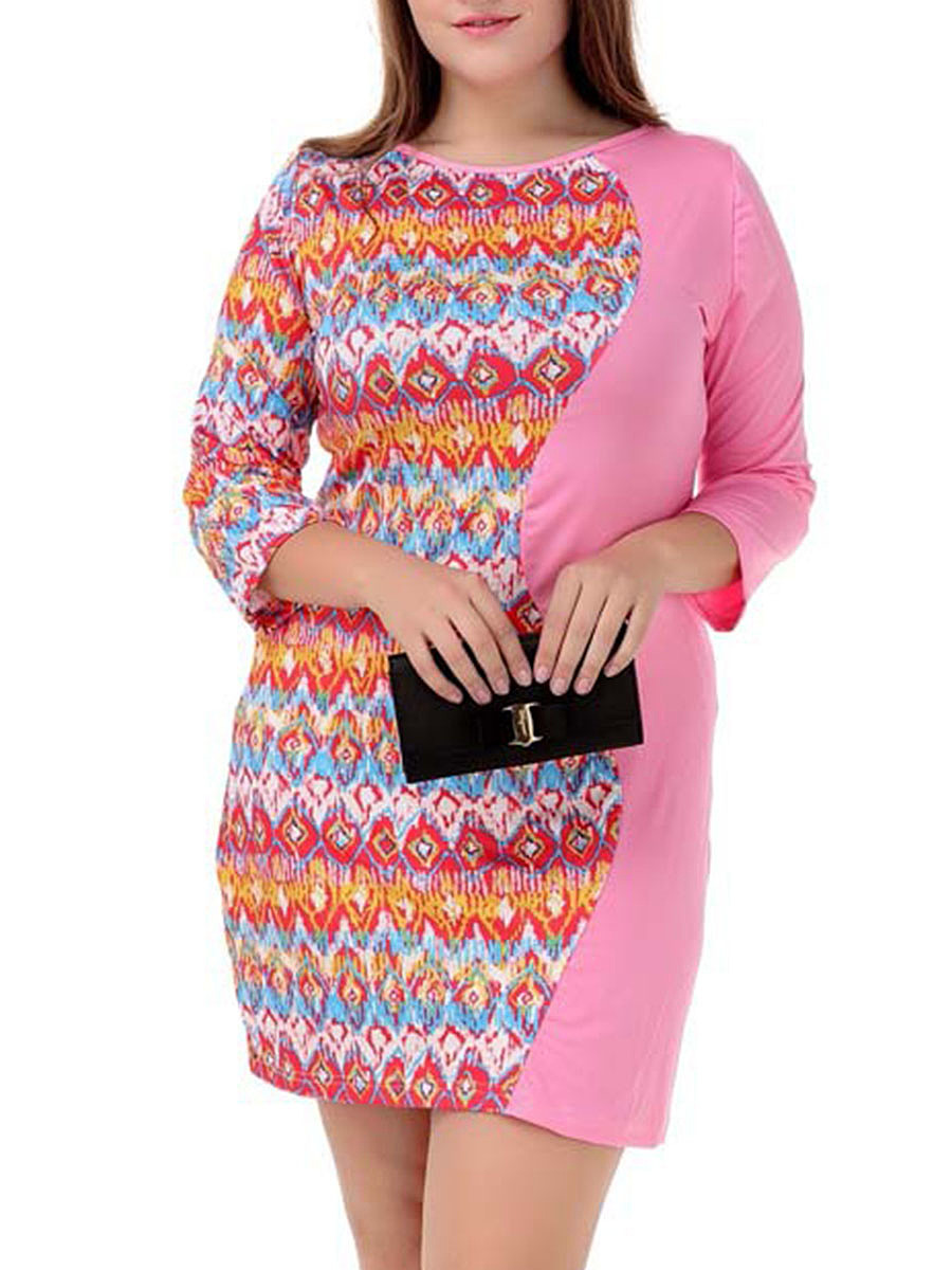 Round Neck  Patchwork  Color Block Printed Plus Size Bodycon Dress
