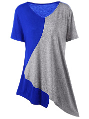V Neck  Asymmetric Hem Patchwork  Color Block Short Sleeve T-Shirts