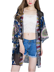 Captivating Hollow Out Printed Kimono