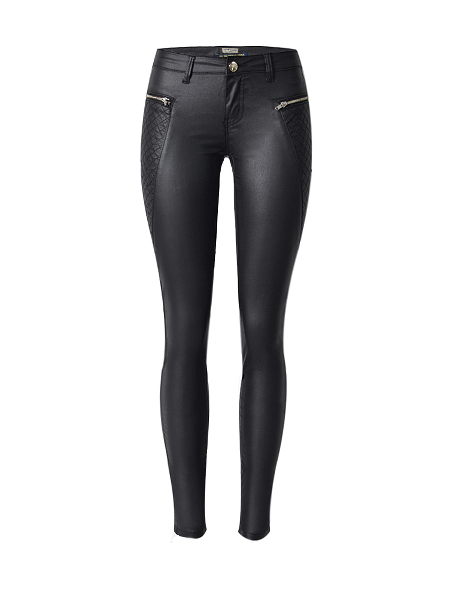 Zips Plain Slim-Leg Low-Rise Faux Leather Casual Pant