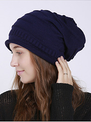 Basic Color Warm Knitted Pullover Hats