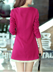 Longline Collarless Pocket Plain Blazer