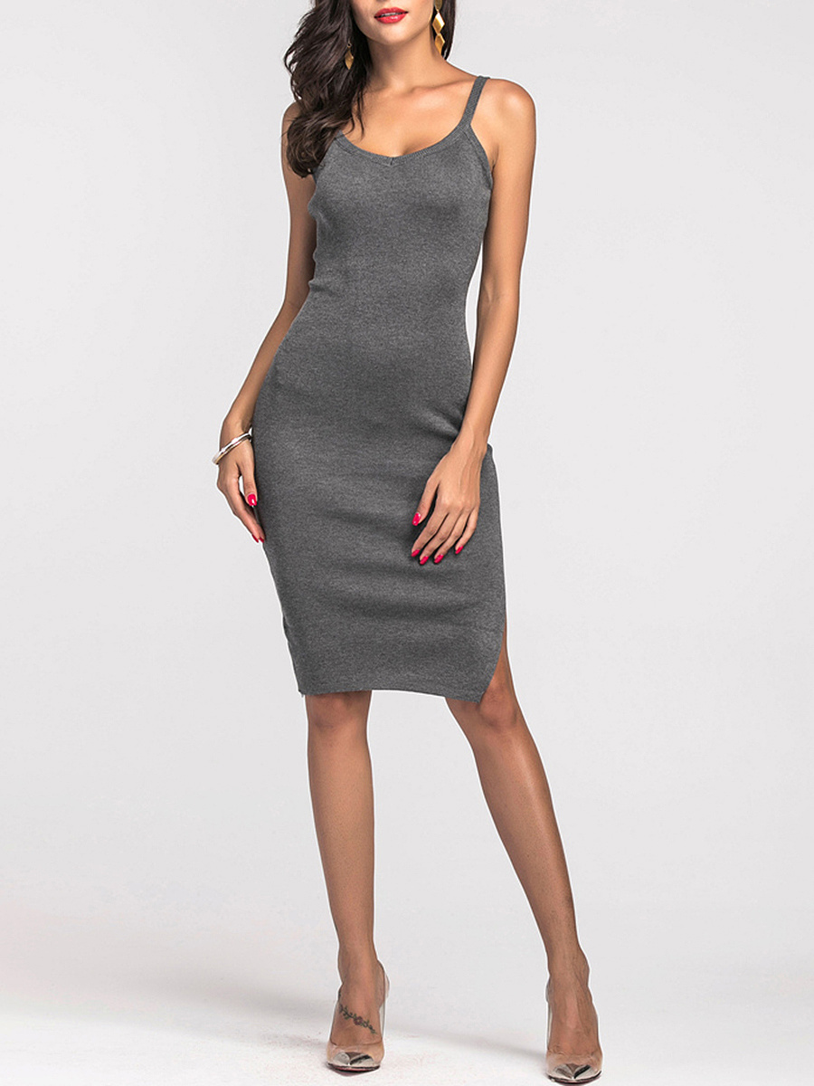 Spaghetti Strap Side Slit Plain Midi Bodycon Dress