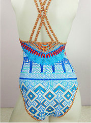 Backless  Abstract Print Bohemian One Piece For Women