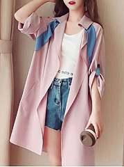 Fold-Over Collar  Contrast Piping  Plain  Long Sleeve Trench Coats