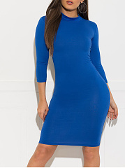 Round Neck  Plain Bodycon Dress