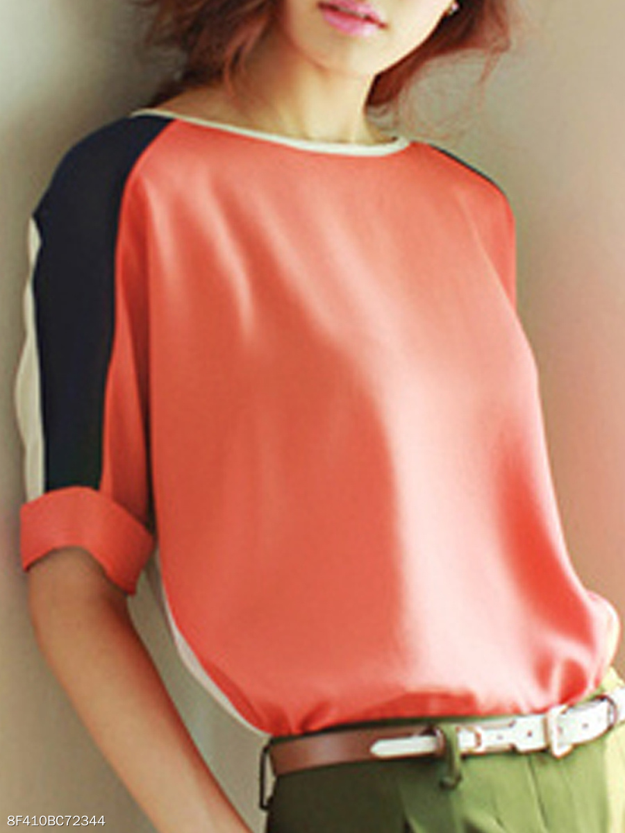 Summer  Cotton  Women  Round Neck  Patchwork  Abstract Print Color Block Plain Short Sleeve T-Shirts