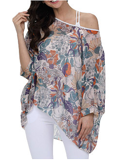 Spring Summer  Acrylic  Women  Round Neck  Asymmetric Hem  Floral Printed  Three-Quarter Sleeve Blouses