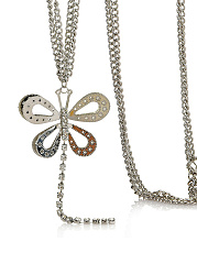 Silver Hollow Out Butterfly Pendant Necklace