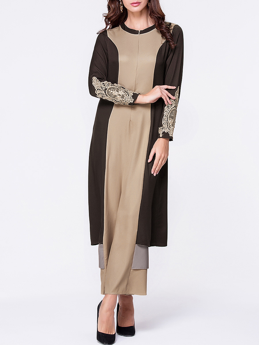 Crew Neck Decorative Lace Color Block Maxi Dress