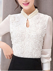 Band Collar  Beading  Keyhole  Floral Plain  Long Sleeve Blouses