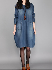 Round Neck Pocket Light Wash Denim Shift Dress