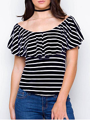 Summer  Cotton  Women  Boat Neck  Two Way  Striped Short Sleeve T-Shirts