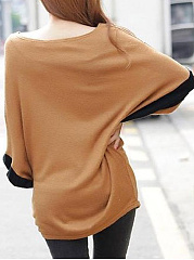 Round Neck  Patchwork  Color Block  Bell Sleeve Long Sleeve T-Shirts