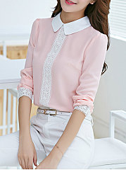 Autumn Spring  Polyester  Women  Doll Collar  Decorative Lace  Plain  Long Sleeve Blouses