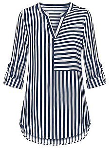 Split Neck  Striped  Roll-Up Sleeve  Long Sleeve Blouse