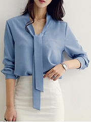 Autumn Spring  Blend  Women  Tie Collar  Plain  Roll-Up Sleeve  Long Sleeve Blouses